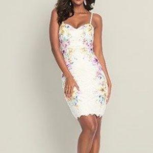 Venus White Lace with color floral Bodycon dress